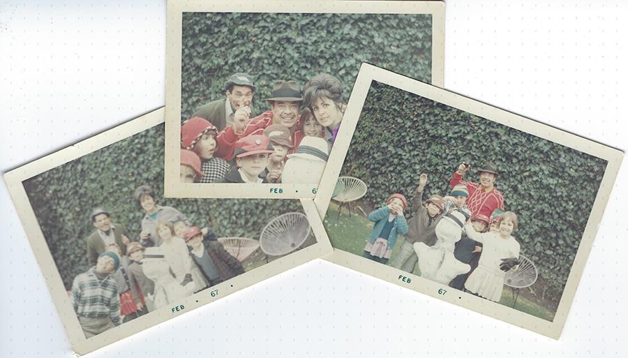 Tin Tan, Ramón y Rosalia con sus hijos en la nieve - Colage