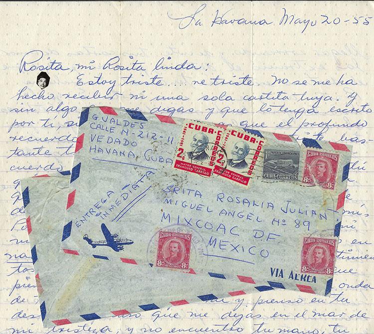 Tin Tan a Rosalía – desde Hotel Vedado, Cuba – Carta con sobre